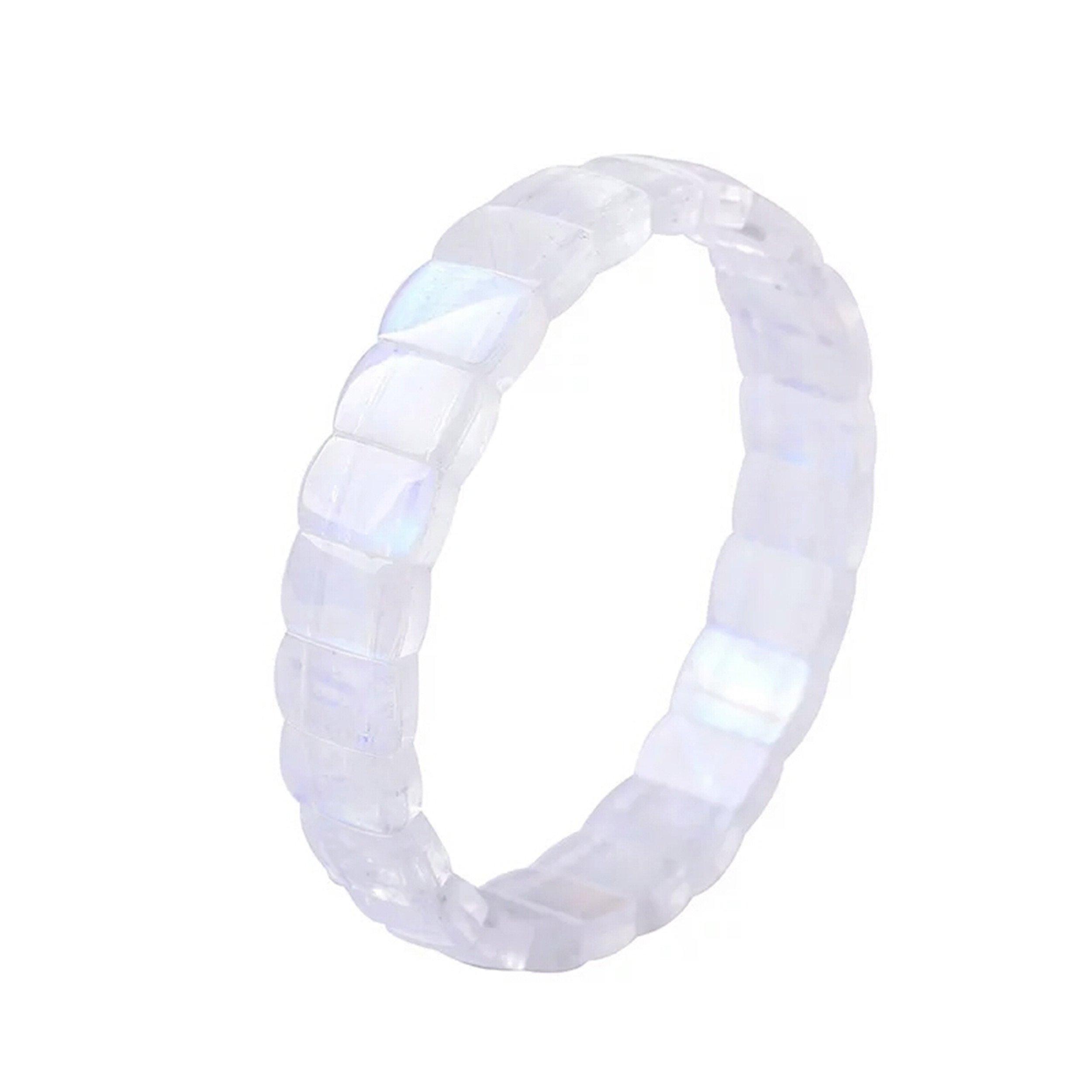Genuine Strong Lights Blue Natural Moonstone Crystal Rectangle Bead Stretch Bracelet