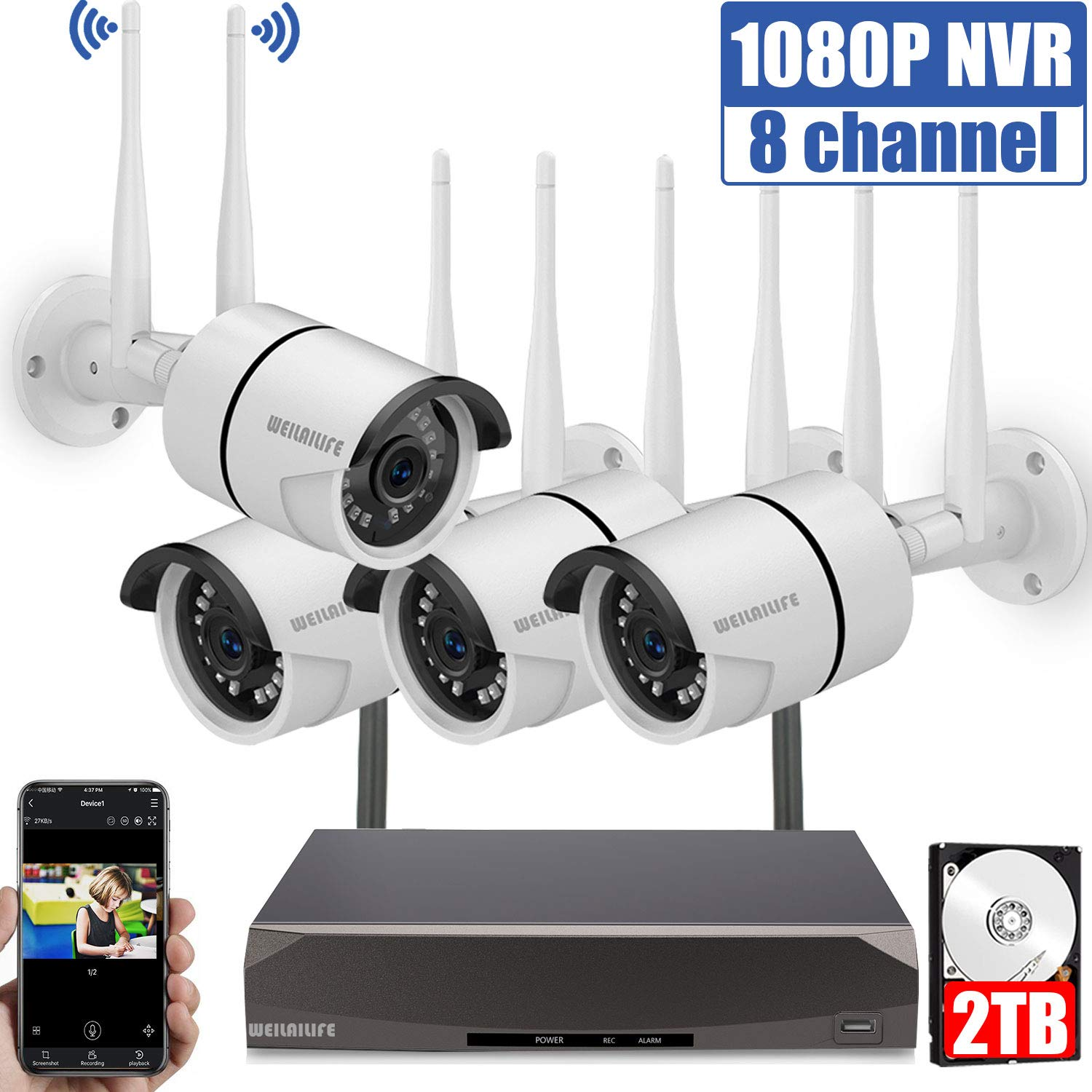 Security Camera System Wireless,8 Channel Home Outdoor Wireless Surveillance Camera System and 4Pcs 1080P WiFi Security Weatherproof IP Camera with Night Vision,Remote View,2TB Hard Drive by WEILAILIFE
