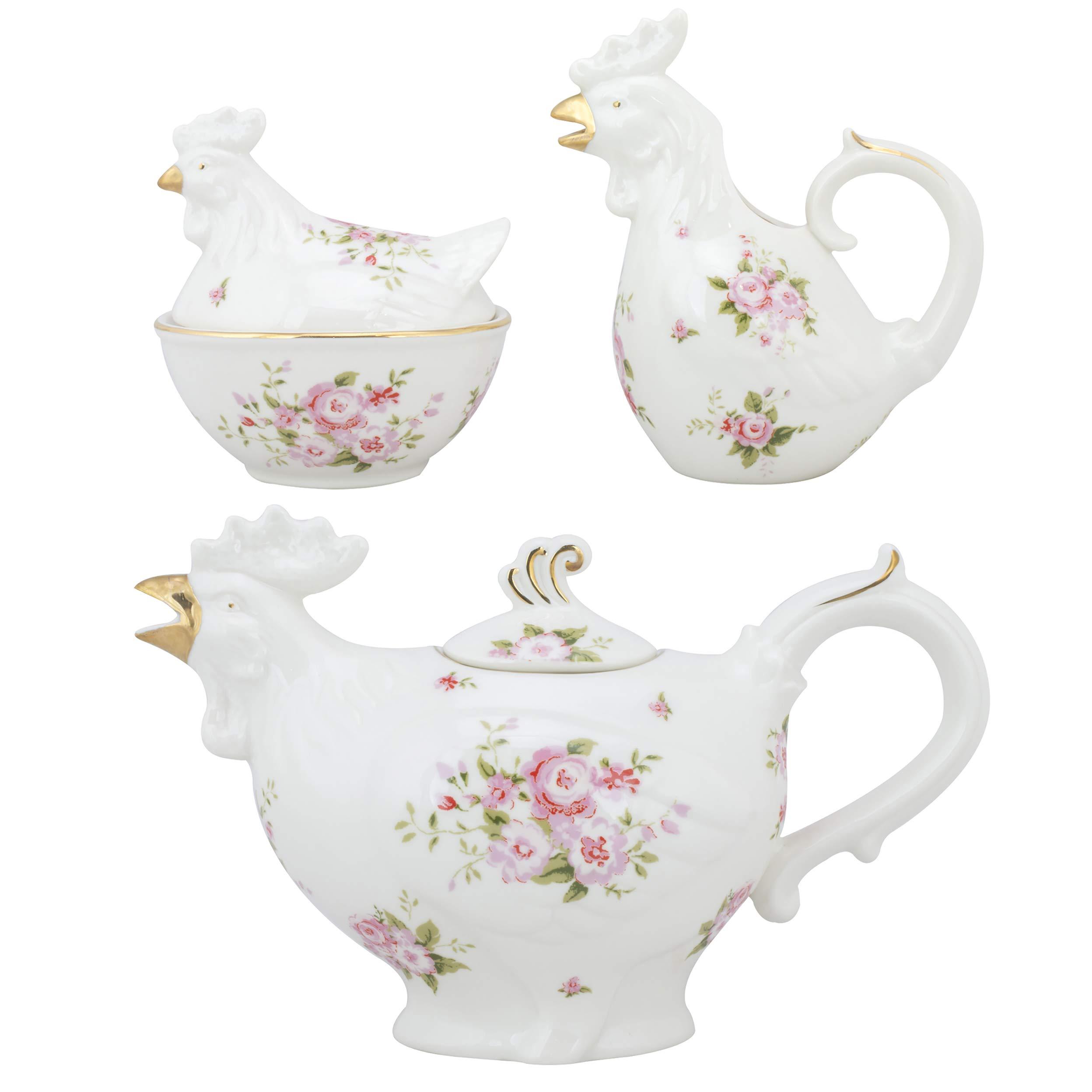 Grace Teaware Fine Porcelain Rooster 22-Ounce 3pc Tea Set (Floral Rose) with Gold Trim