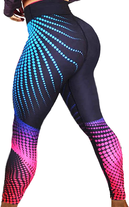 Women 3D Print Elastic Waist Yoga Leggings Jogging Training Sports Fitness Pants