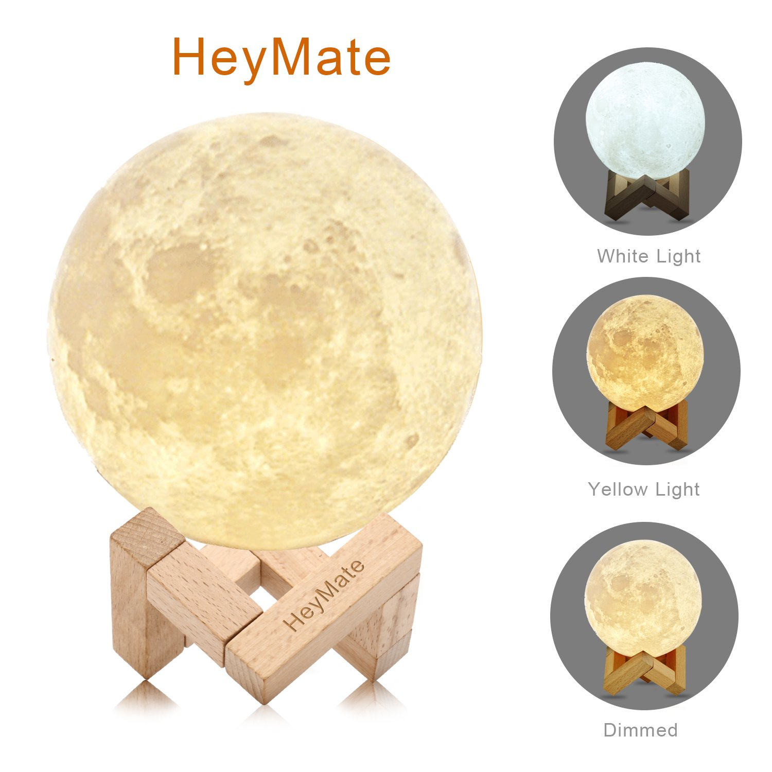 HeyMate 3D Printing Lunar Lamp Touch Control Night Light as Kids Women Girls Gift, 4.7'' Rechargeable Moon Lamp with Wooden Holder, Warm Cool White Dimmable Touch Control