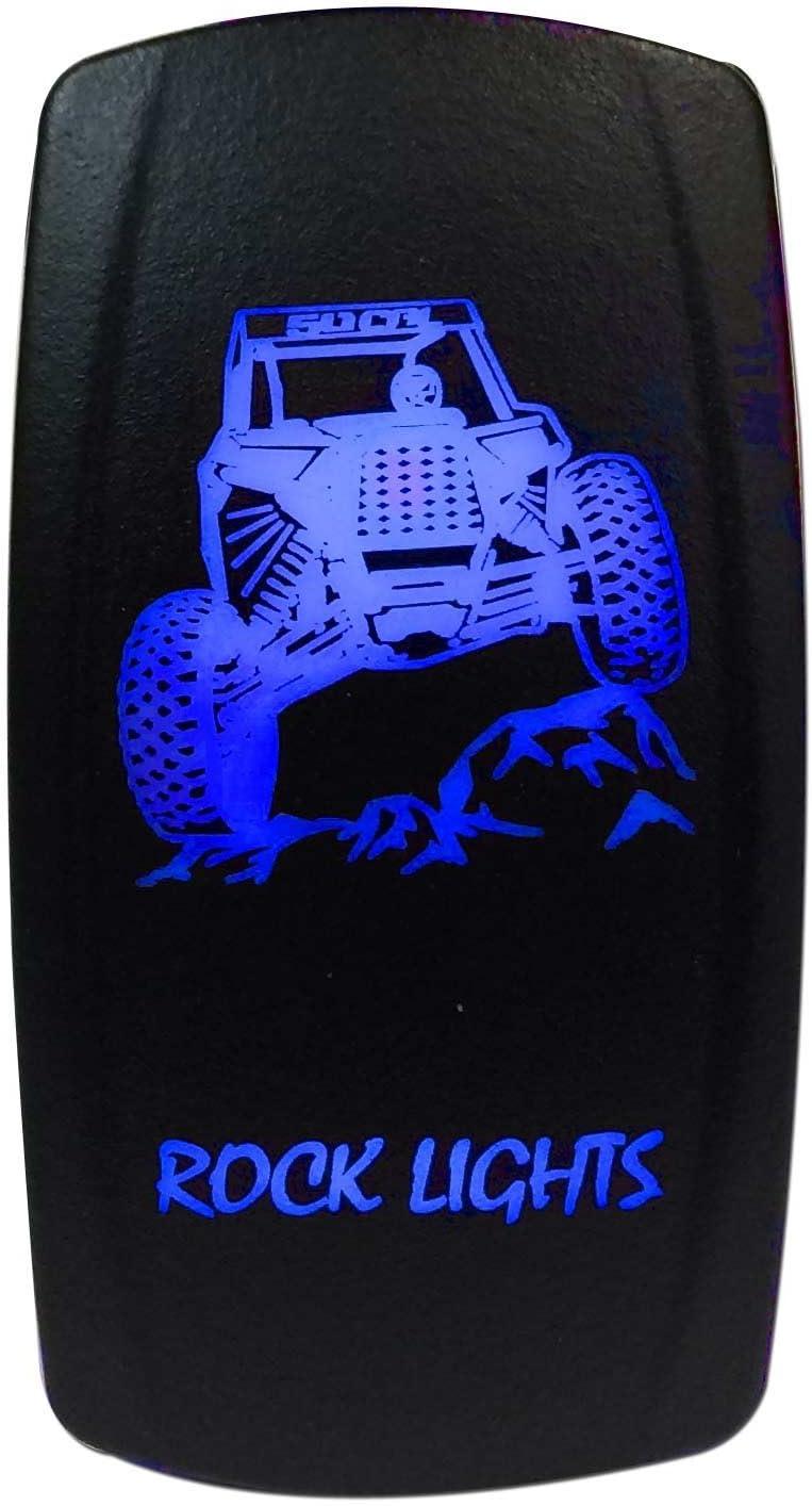 Waterproof On//Off Rocker Switch LED Light RZR Maverick X3 YXZ1000R Pioneer BLUE