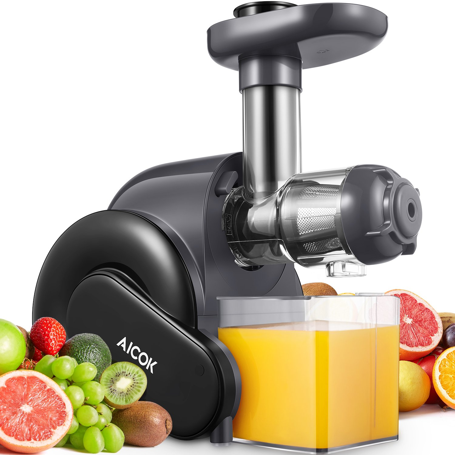 Juicer, Aicok Slow Masticating Juicer with Reverse Function, Juice Machine with Recipe, Cold Press Juicer with Quiet Motor, Juice Jug and Brush for High Nutrient Juice, Easy to Clean, BPA Free by AICOK (Image #1)