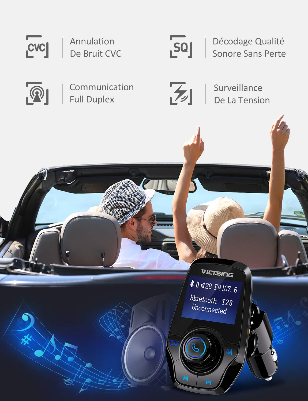 Gris VICTSING Transmetteur FM Bluetooth Adaptateur Bluetooth Autoradio Kit Voiture Main-libre Sans Fil Adaptateur Radio avec Double Port USB 5V// 2.1A et Port Audio 3,5mm