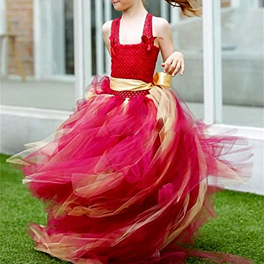 MB-LANHUA 9Crochet Baby Tutu Skirt Tube Top Elastic Waistband Headband Hair Band Girls Tutu Skirt Red