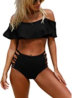 e7f6a6322750dd Astylish Women s Two Piece Off Shoulder Ruffled Flounce Top With Cut Out  Bottom Swimsuit