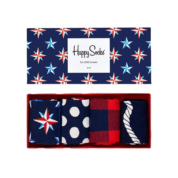 Happy Socks Calcetines de Hombre Náutico Caja de Regalo, 4 Paquete: Amazon.es: Ropa y accesorios