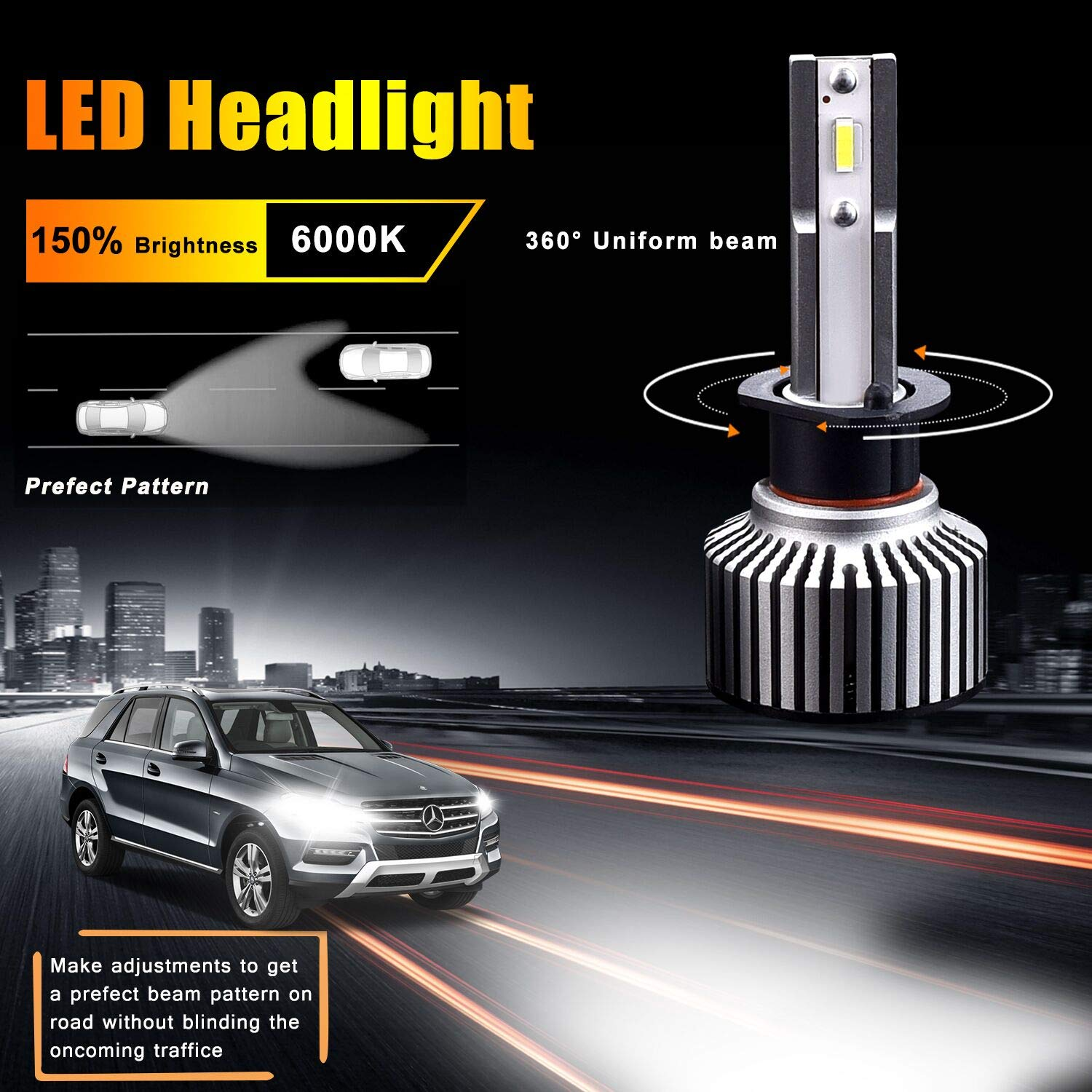 H1 LED Headlight Bulbs, A-1ux All-in-One Conversion Kit High Beam Bulb -  10800LM 6000K Cool White