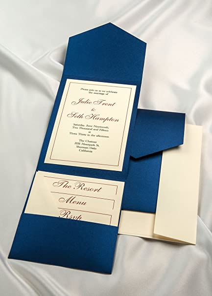 amazon com all in one pocket invitation kit royal blue elegance