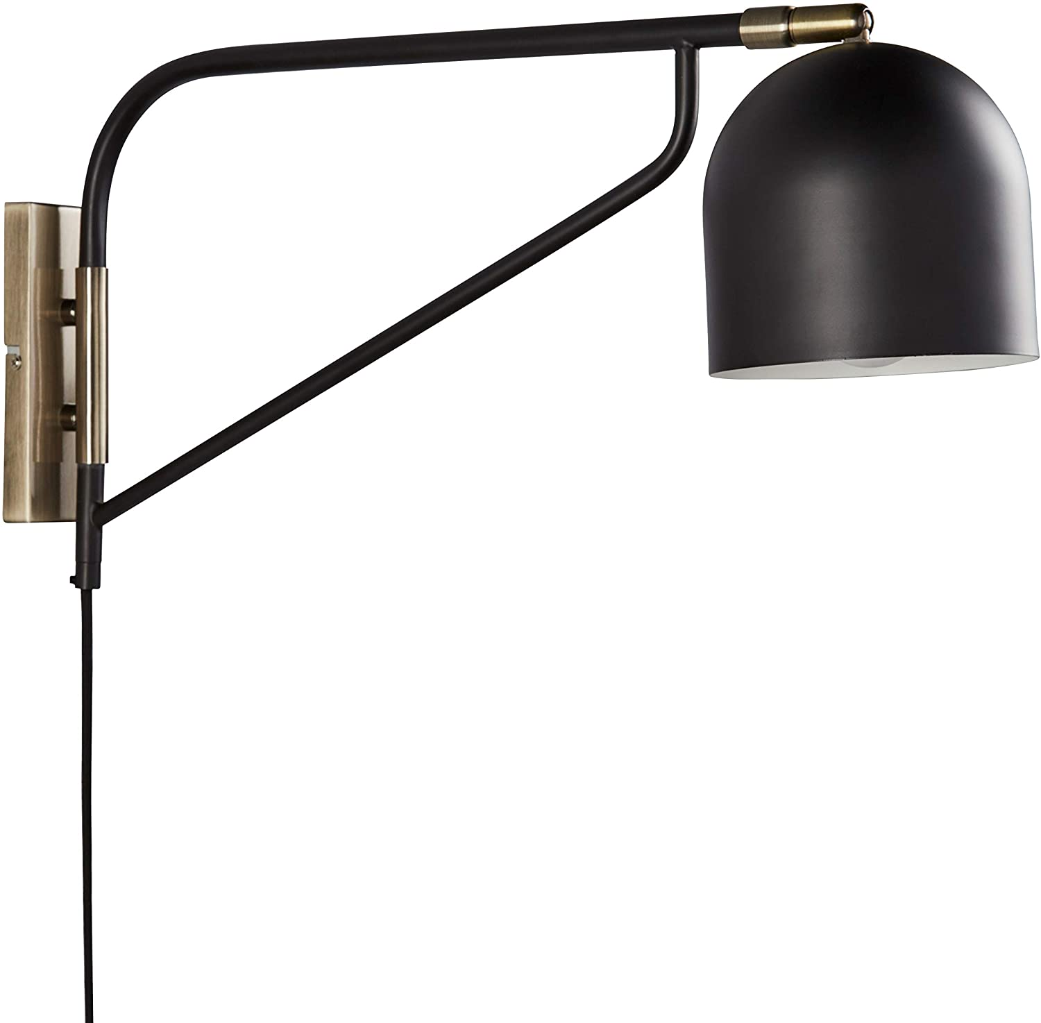 "Rivet Mid-Century Swiveling Wall Sconce with Bulb, 11""H, Black and Antique Brass"
