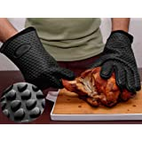 KenCa BBQ Gloves -Heat Resistant Silicone Gloves with Inner Cotton Layer for Oven, Cooking, Baking and Grilling