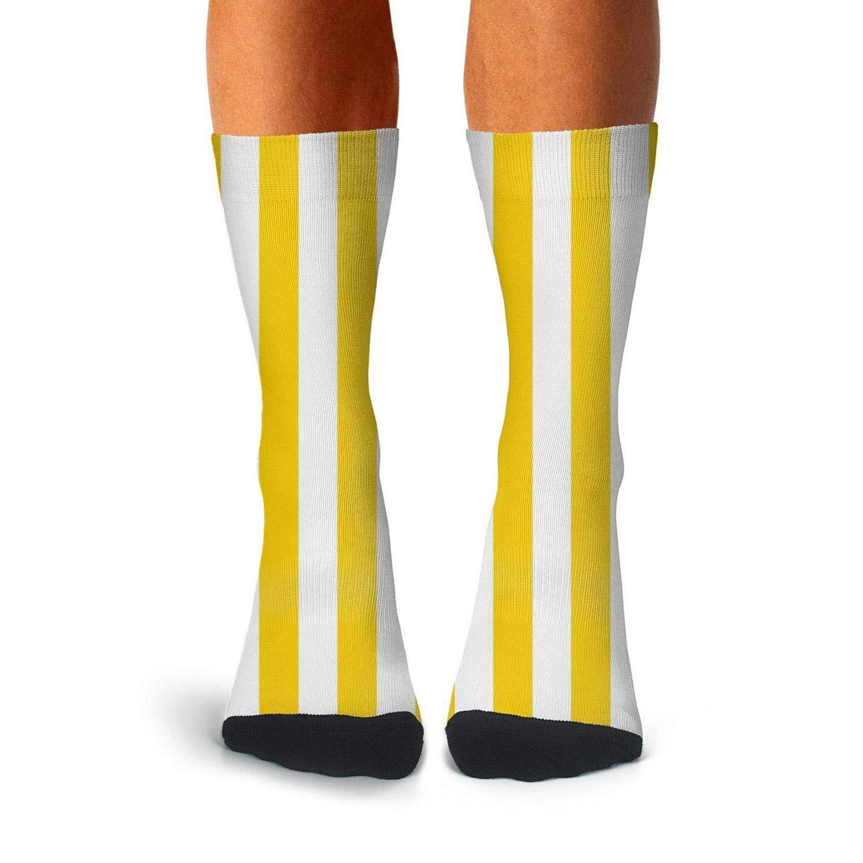 KCOSSH Yellow-and-white-striped Novelty Calf Socks Moisture Crew Sock For Mens Knee High Long Stockings