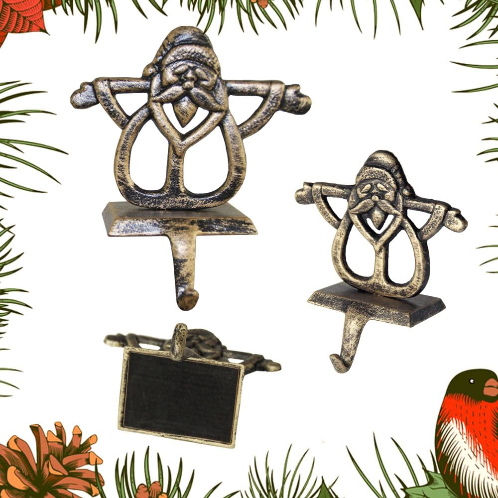 1 Pezzo ZhongYe per Calza di Natale Ganci Vintage Renna Pupazzo di Neve Babbo Camino Hanger Natale addobbi Santa