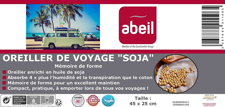 Abeil Oreiller de Voyage /à M/émoire de Forme /à lAloe Vera 45 x 25 cm