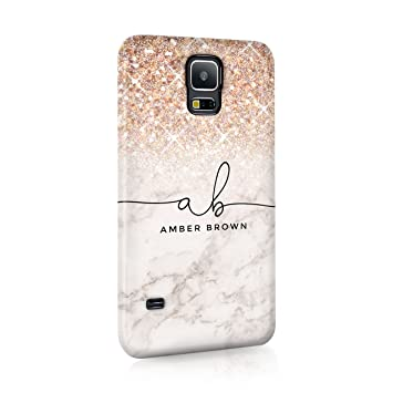 best service 07b00 4b47c Personalised Samsung Galaxy S9 Tirita Hard Case Cover PRINTED GLITTER, NOT  REAL GLITTER Faded Glitter Marble Bling Sparkly Luxury Custom Initials Name  ...