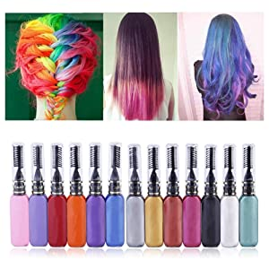 Spdoo Temporary Hair Color Chalk, 13 Colors Instant Hair Dye Cream Brush Set, Hair Touchup Mascara, Perfect Party Gift for Kids Girls Boys Women Men