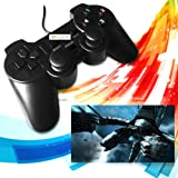 Vmargera USB Double Shock Controller GamePad for PC Computer Laptop - Black