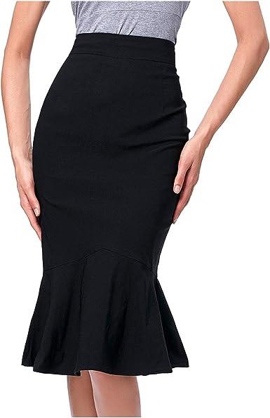 Vintage Women Party Sheath Bodycon Pencil Skirt OL High Waist Strap Mini Skirts