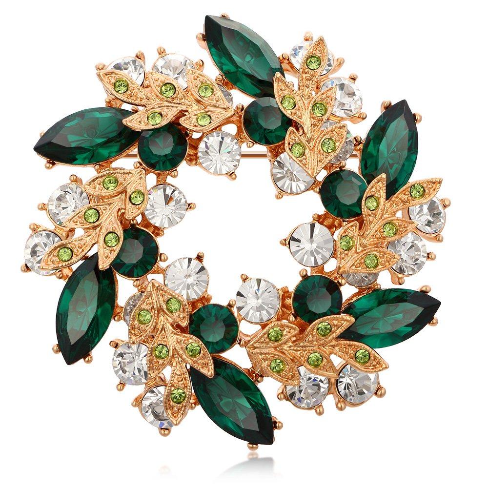 Kemstone Plaqu/é Or Rose Vert color/é Oxyde de Zirconium Fleur Broche pour Femme