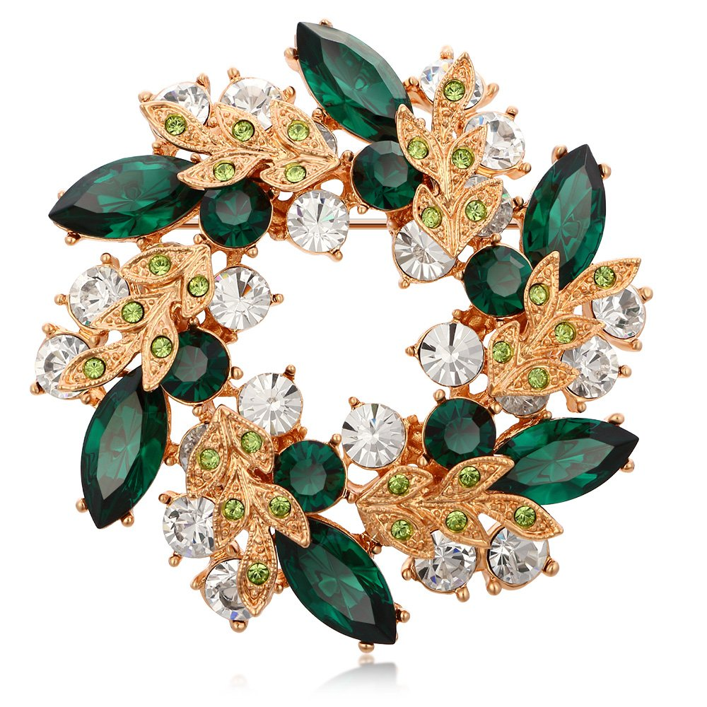 Kemstone Rose Gold Plated Emerald Crystal Flower Brooch Pin for Women