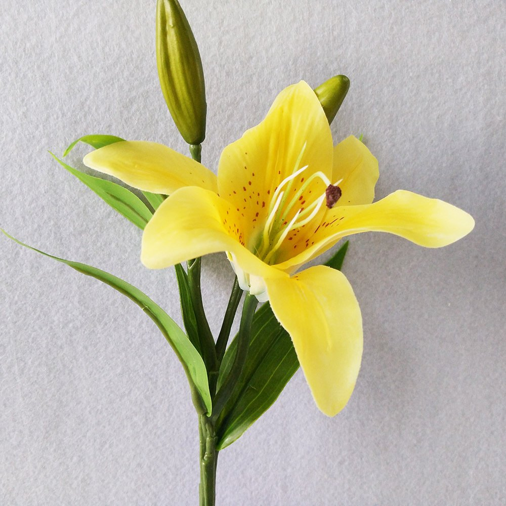 Yellow lily bush artificial flower nniuk lily real touch lily yellow lily bush artificial flower nniuk lily real touch lily flower bouquet weddinggravesvases5pcs amazon kitchen home izmirmasajfo