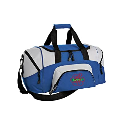 Hibiscus Flower Personalized - Colorblock Sport Small Duffle Bag (Royal/Grey)