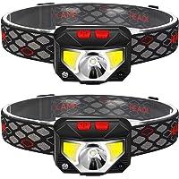 2-Pack Rechargeable Headlamp Flashlight, 800 Lumens Motion Sensor Head Lamp, IPX4 Waterproof, Bright White Cree Led…