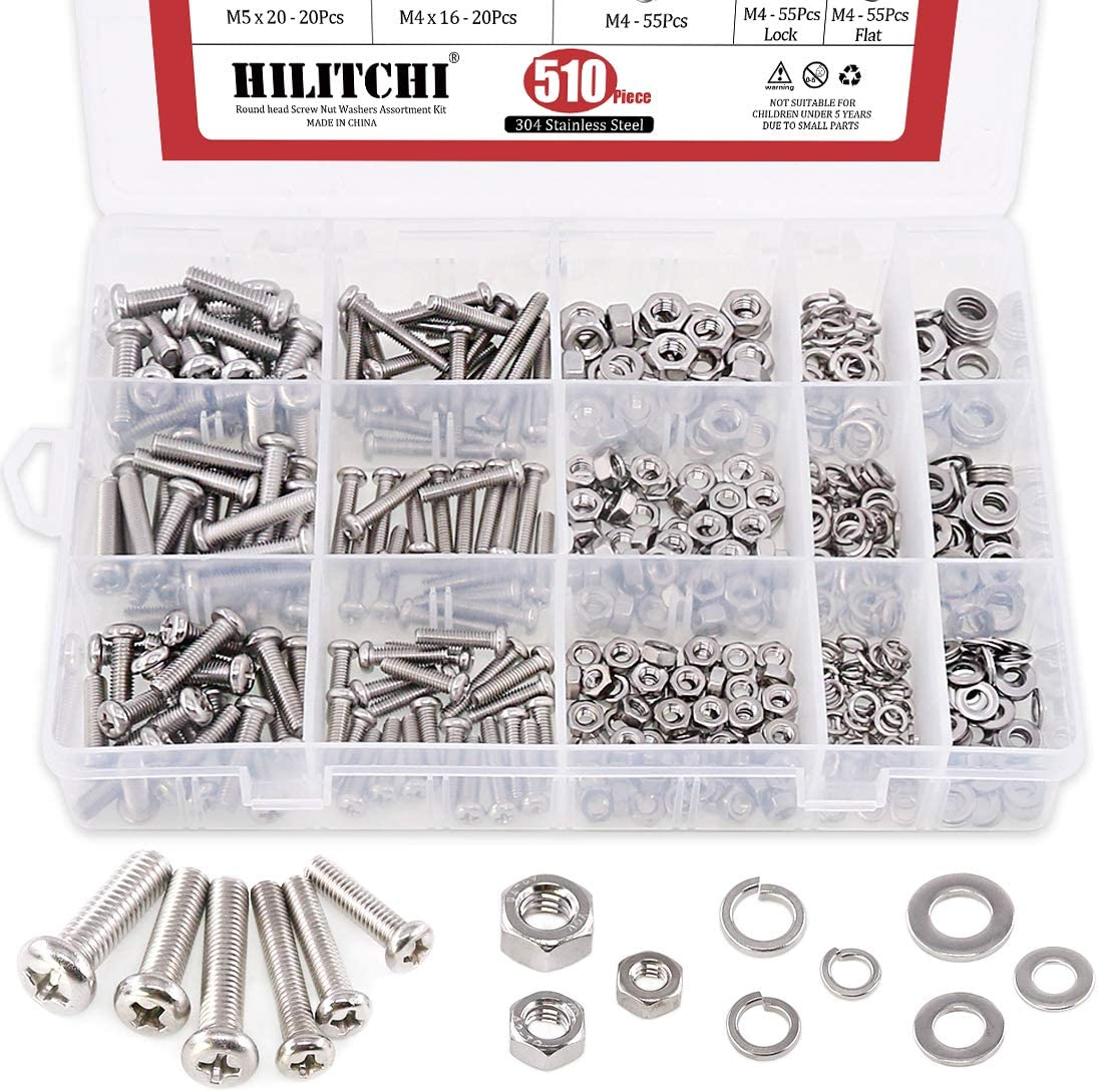 Phillips Pan Head Hilitchi 510Pcs M4 5//6 Stainless Steel Phillips Pan Head Bolts Screws Nuts Flat and Lock Washers Assortment Kit
