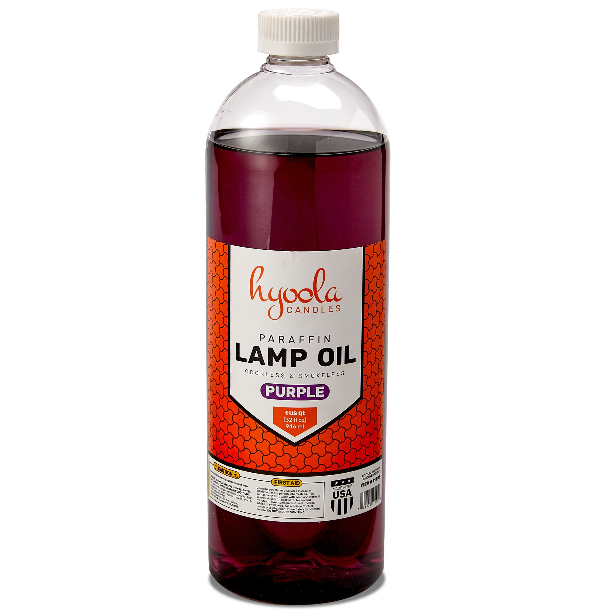 Liquid Paraffin Lamp Oil - Purple Smokeless, Odorless, Ultra Clean Burning Fuel for Indoor and Outdoor Use - Highest Purity Available - 32oz - by Hyoola Candles