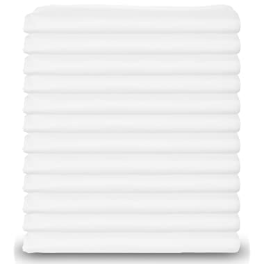 Standard Size White Pillowcases Bulk Pack, T-200 Heavy Weight Quality, Polycotton, Set of 12
