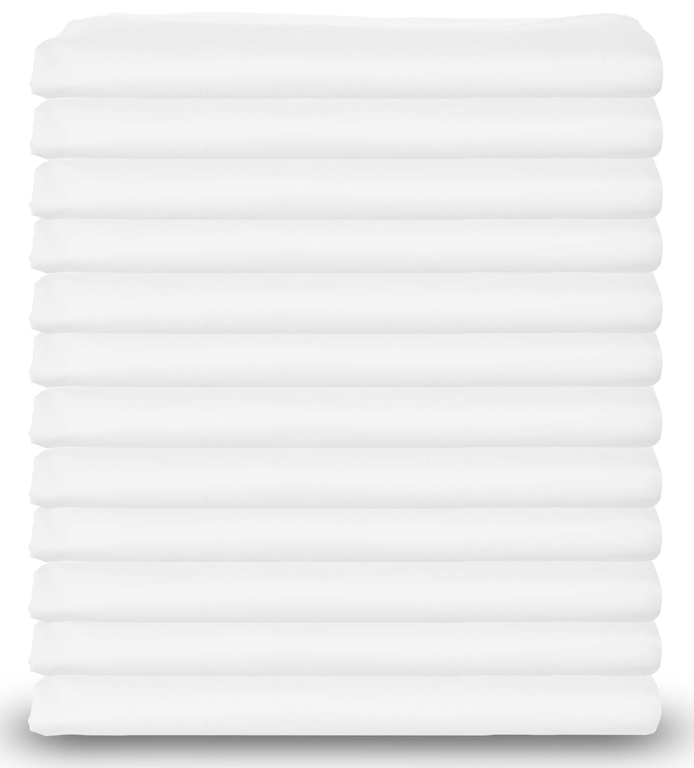 Standard Size White Pillowcases Bulk Pack, T-200 Heavy Weight Quality, PolyCotton,Set of 12