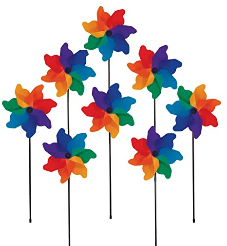 Beau In The Breeze Rainbow Poly Petal Pinwheel Spinners (8 PC Assortment)