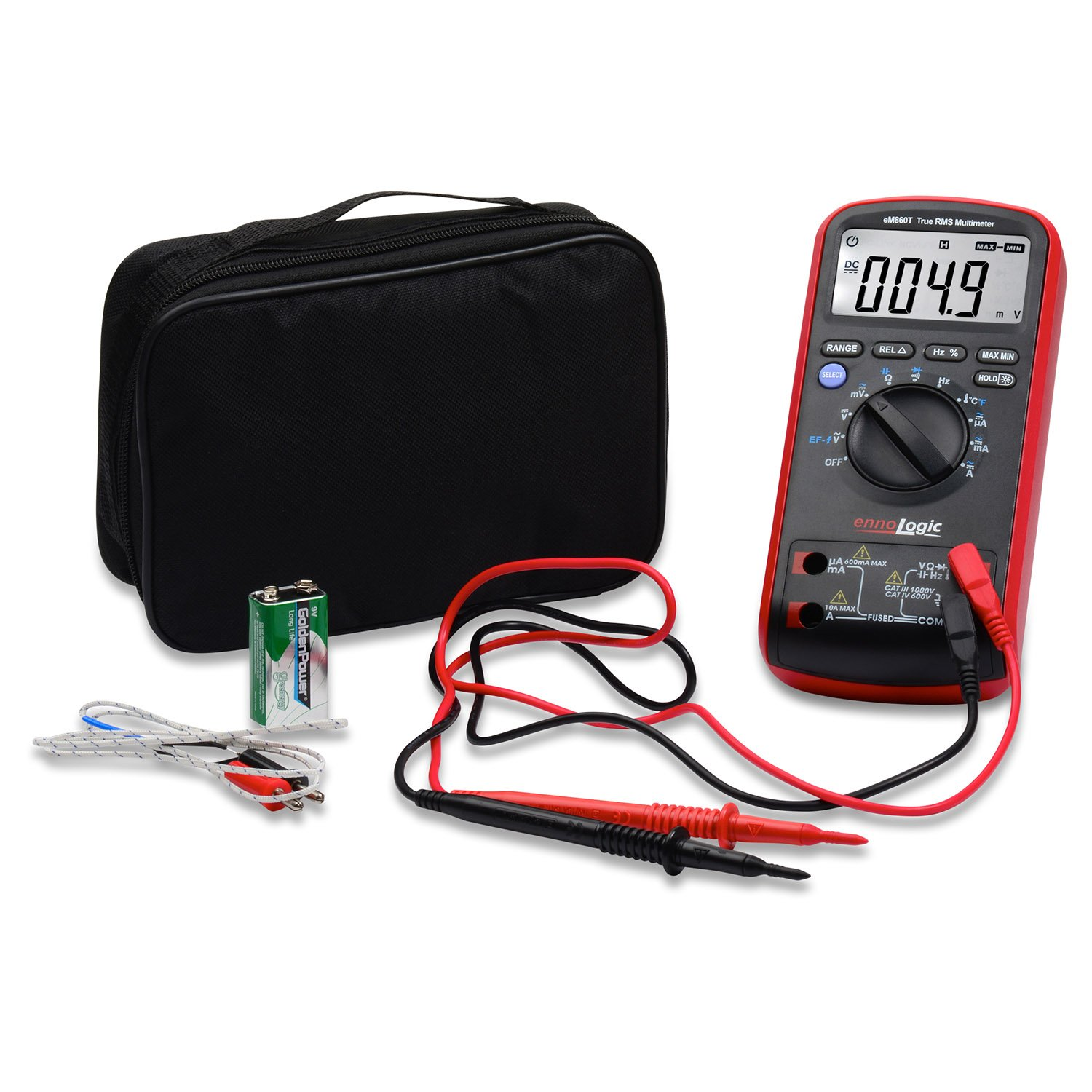 TRMS Digital Multimeter eM860T by ennoLogic – Auto Ranging DMM, Voltage, Current, Resistance, Capacitance, Frequency, Temperature, Non-Contact Voltage Detect, Carrying Case