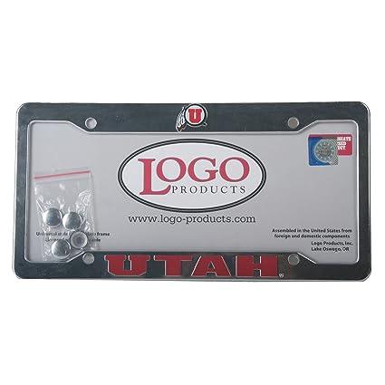 Amazon.com : Utah Utes Chrome Plastic License Plate Frame ...