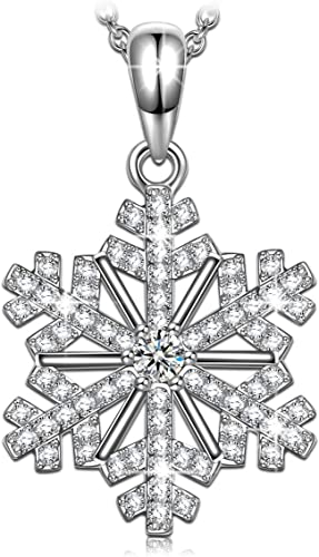 Glass Snowflake Glow in the Dark Necklace Glowing Pendant Charm Winter Love Gift