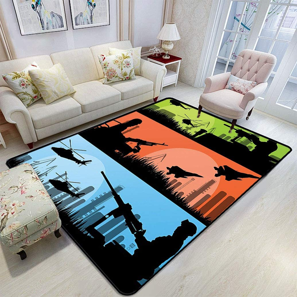 War Home Decor Area Rug Battle Sceneries Soldiers Armed Helicopters Warplanes Guns City Landscape Fluffy Rugs Floor Mats Carpets With Anti Skid 6 6 X 9 Green Orange Kitchen Dining