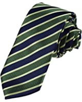 DAE7A04-06 Mens Microfiber Gift Giving Stripes Working Slim Necktie By Dan Smith