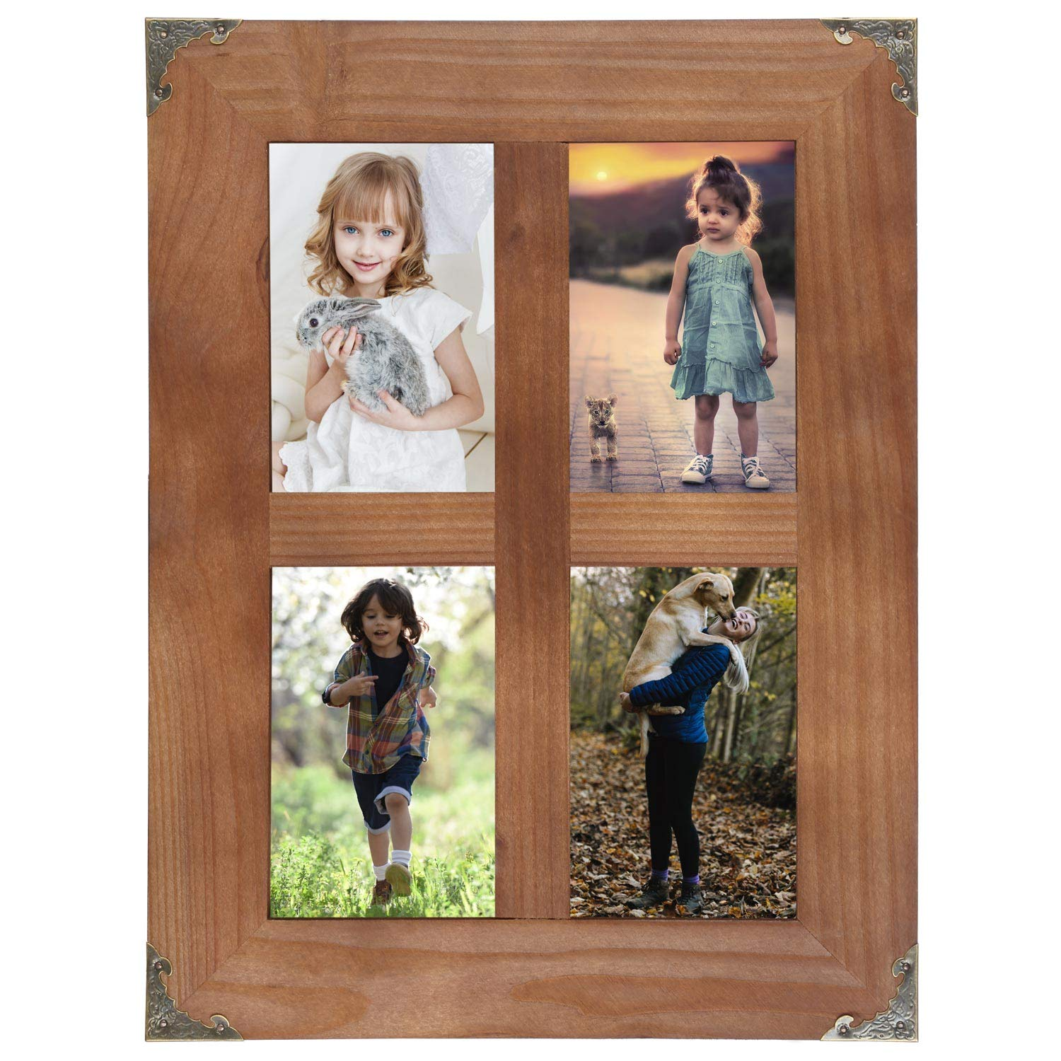 LOSOUR 4x6 picture frames collage, Window Pane 4 Opening 4x6 picture frame with Decorative Metal Corners for Table Top Display and Wall mounting Photo Frame (Brown, 16.2x12.2 inch)