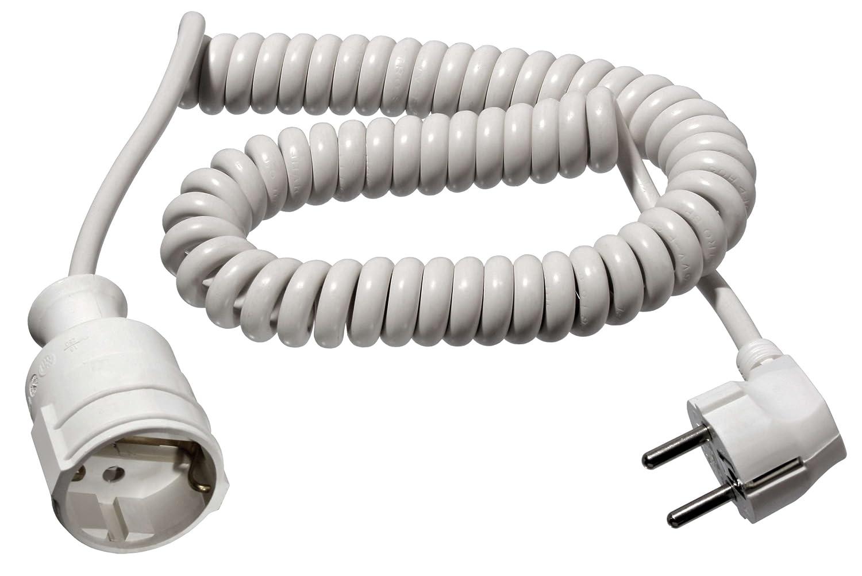 fiche et couplage IP20 as-Schwabe 70412 Rallonge /électrique spirale C/âble blanc 2,5m H05VV-F 3G1,5