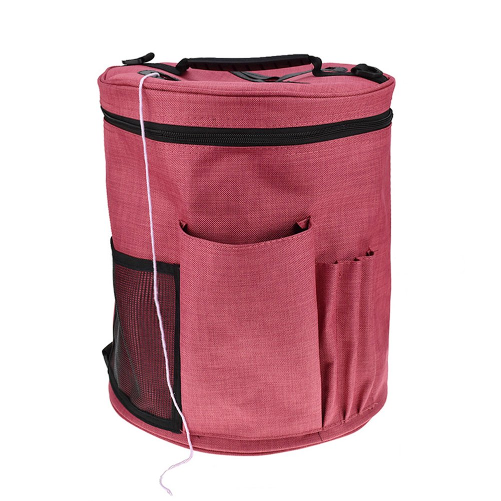 Gorge-buy Knitting Bag For Yarn Storage Portable Crochet Yarn Ball Holder Light and Easy to Carry Pockets for Accessories and Slits on Top to Protect Yarn and Prevent Tangling