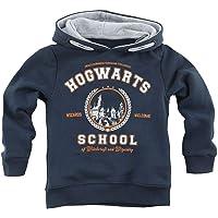 HARRY POTTER Hogwarts School Unisex Sudadera con Capucha Azul Marino, Rippbündchen Regular