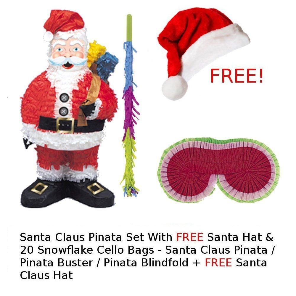 Santa Claus Pinata Kit - Santa Pinata / Pinata Buster / Pinata Blindfold / FREE Santa Hat & Cello Bags Unique Henbrandt