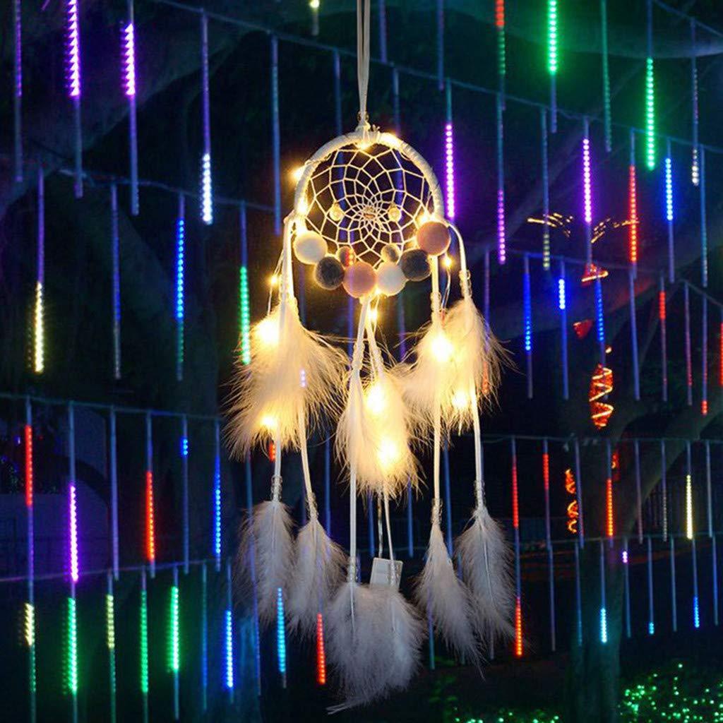 Blue Sixcup/®Dreamcatcher Wei/ß mit Federn Handgemachter Traumf/änger Federn Nachtlicht Auto Wandbehang Dekor Room Home Decor Gro/ßer 70CM