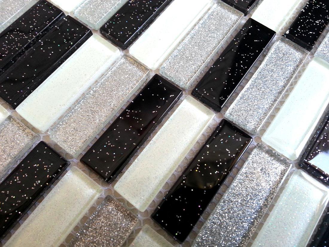Cristal mosaicos azulejos ladrillos de patró n en color negro con purpurina formato MT0028 patró n Grand Taps
