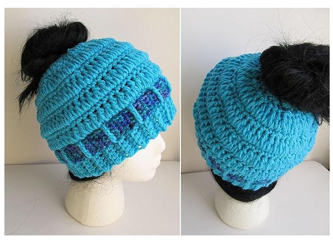 Amazon Messy Bun Hat Crochet Pony Tail Hat Knit Bun Beanie