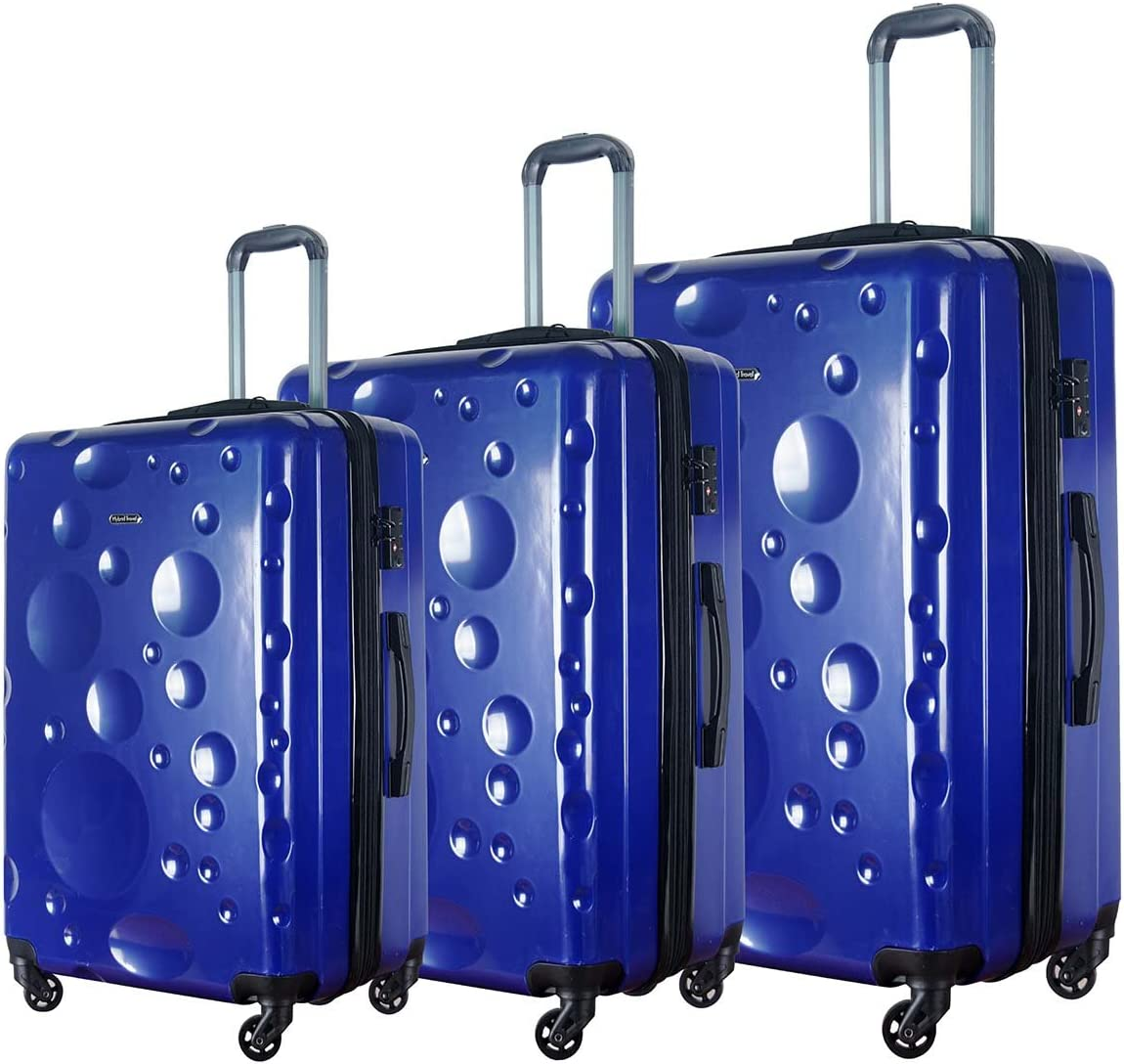 Black 3 Pieces HyBrid /& Company Luggage Set Durable Lightweight Spinner Suitcase LUG3-628
