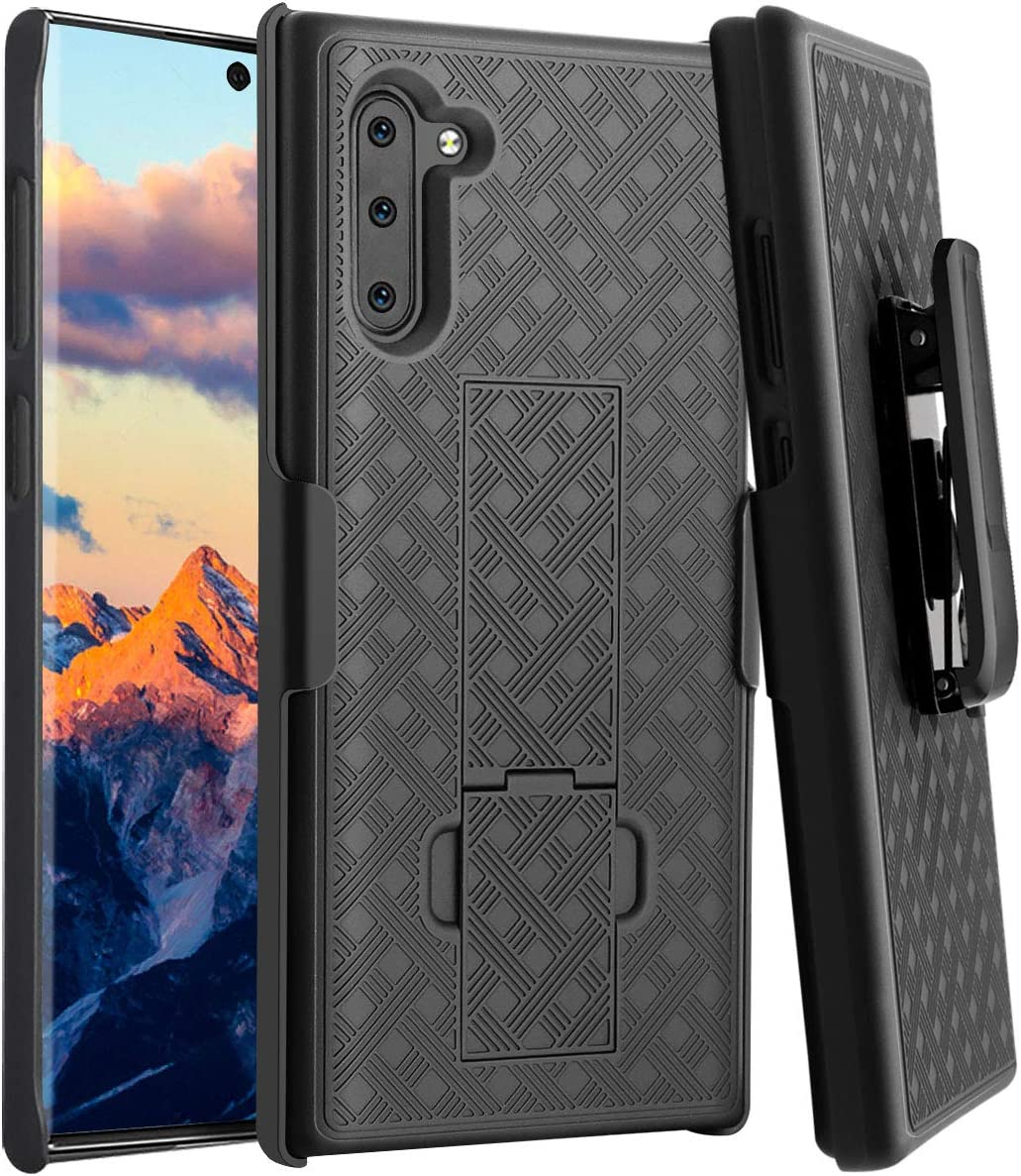 Galaxy Note 10 Case, Note 10 Holster Case, Fingic Combo Slim Shell Holster Case with Built-in Kickstand Swivel Belt Clip Holster Rugged Full Body Protective Case for Samsung Note 10 6.3 inch - Black