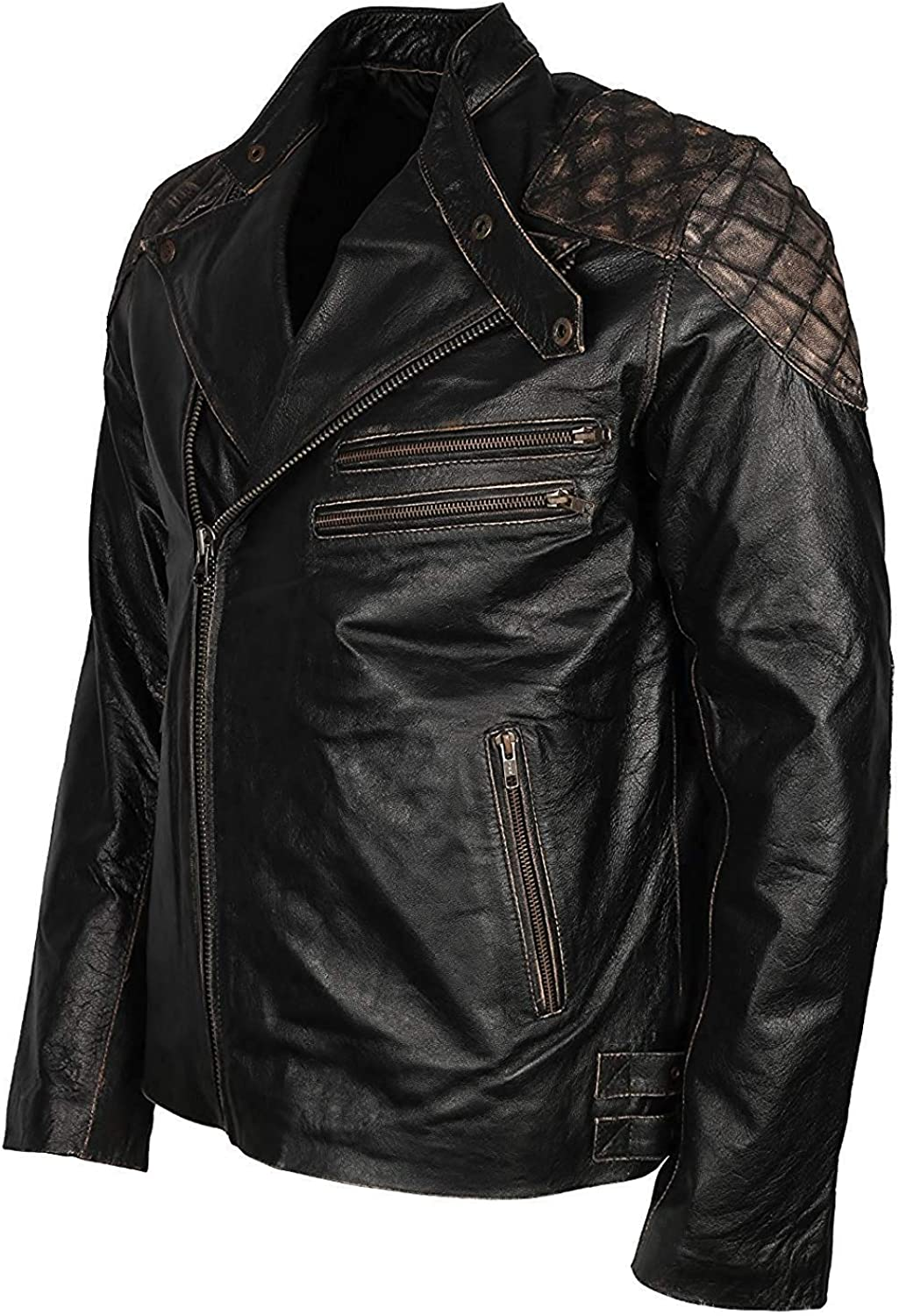 TLE Mens Quilted Fantasy Skull /& Bones Asymmetrical Black Real Leather Jacket