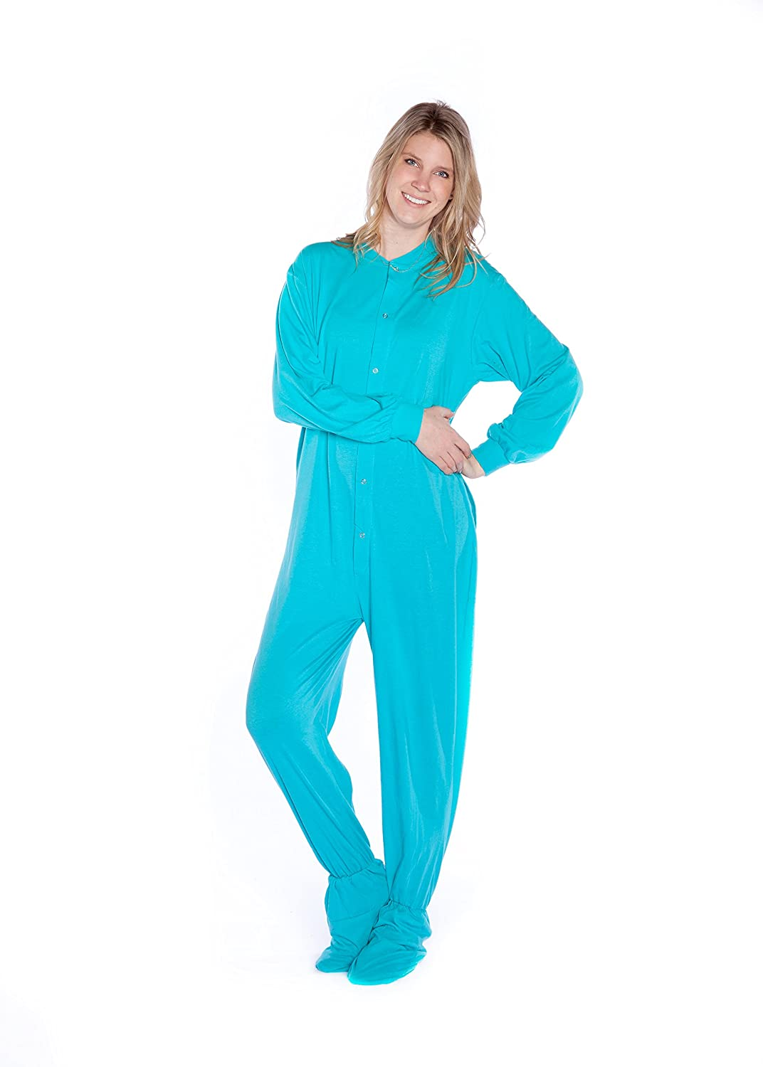 BIG FEET PAJAMA CO Turquoise Jersey Knit Adult Onesie Footed Pajamas for Men /& Women