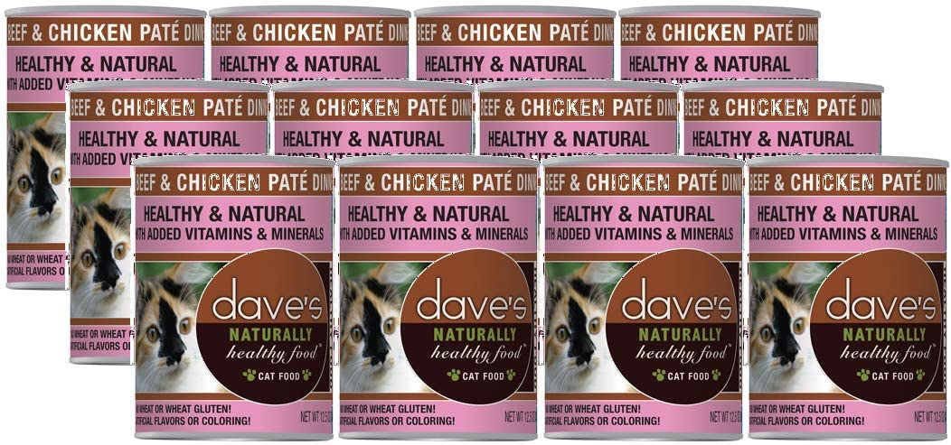 Dave'S Naturally Healthy Canned Cat Food Beef & Chicken Pate 12Oz, Pack Of 12